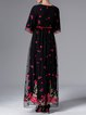 Black Embroidered Half Sleeve Mesh Evening Dress with Belt