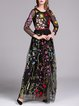 Black Floral Embroidered Long Sleeve Evening Dress with Belt