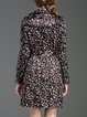 Black Long Sleeve Leopard-print Buttoned Trench Coat with Belt