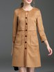 Yellow Pockets 3/4 Sleeve Faux Suede Coat