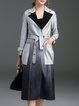 Gray Ombre A-line Elegant Lapel Coat with Belt