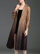 Brown Ombre Pockets Lapel Sude Elegant Coat with Belt