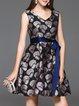 Gray V Neck Bow Sleeveless Jacquard Mini Dress
