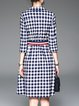 Gray 3/4 Sleeve Checkered Shirt Collar Midi Dress with Belt