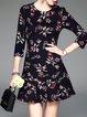 Black 3/4 Sleeve Floral-print Flounce Mini Dress