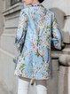 3/4 Sleeve Crew Neck Vintage Jacquard H-line Cotton-blend Coat