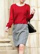 Red Plain Long Sleeve Wool Blend H-line Midi Dress