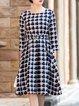 Navy Blue 3/4 Sleeve Checkered/Plaid Midi Dress