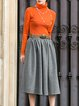 Orange Two Piece Casual Midi Dress
