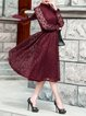 Wine Red Stand Collar Long Sleeve Crocheted Lace Midi Dress