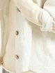 White Buttoned Solid Linen Long Sleeve Cropped Jacket