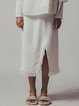 White Ripped Simple Solid H-line Slit Midi Skirt