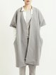 Gray Shift Simple Short Sleeve V Neck Pockets Coat