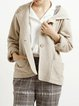 Apricot Simple Linen Long Sleeve Pockets Hoodie