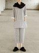 Gray Cotton 3/4 Sleeve Simple Solid Sweatshirt