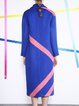Royal Blue Color-block Pockets Lapel Elegant Wool Coat