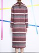 Multicolor Wool Blend Lapel Stripes Casual Coat