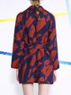 Orange Long Sleeve A-line Abstract Wool Blend Coat with Belt