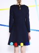 Dark Blue Appliqued Cute Long Sleeve Midi Dress