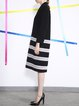 Black V Neck Stripes Zipper Casual Wool Blend Midi Dress