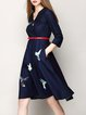 Blue 3/4 Sleeve Cotton-blend A-line Embroidered Midi Dress