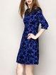 Blue Cotton-blend Crew Neck 3/4 Sleeve Mesh Paneled  Mini Dress