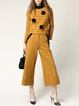 Yellow Plain Two Piece Appliqued Casual Jumpsuit