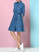 Blue Denim Simple Long Sleeve A-line Shirt Dress with Belt