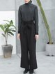 Black Folds Casual Straight Leg Pants