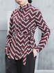 Wine Red Long Sleeve Stripes Printed Blouse