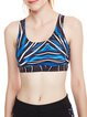Blue Scoop Neckline Crossback Wicking Polyester Sports Bras
