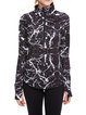Black Abstract Paneled Zipper Stand Collar Breathable Jacket