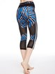 Blue Paneled Printed Stretchy Breathable Bottom Leggings