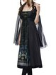 Black Silk Graphic Printed Gothic Retro Goddess Three PCS Midi Dress