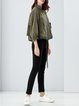 Army Green Statement Zipper Solid Biker Jacket