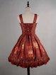 Vintage Printed Skater Spaghetti Polyester Midi Dress