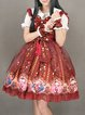Bow Spaghetti Cute Polyester Tribal Lace Up Midi Dress