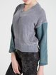 Gray V Neck Polyester Long Sleeve H-line Sweater