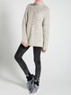 Beige Wool Blend Knitted Turtleneck Long Sleeve Sweater