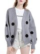Wool Blend Casual Long Sleeve Plunging Neck H-line Appliqued Cardigan