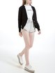 Plunging Neck Long Sleeve Wool Blend Casual H-line Cardigan