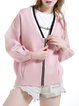 Pink Long Sleeve V Neck H-line Folds Casual Coat