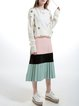 Casual Polyester Plain Long Sleeve H-line Knitted Beaded Cardigan