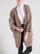 Khaki Pockets Wool Blend H-line Long Sleeve Plain Coat