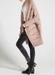 Pink Wool Blend Plain Casual Pierced Cardigan