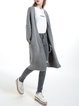 Gray Casual Knitted Plain Open Collar Cardigan