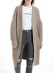 Khaki Plain Long Sleeve H-line Cardigan