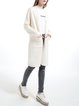 Beige Wool Blend Casual Plain Pockets Casual Cardigan