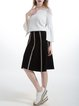 Black Knitted Stripes Simple Midi Skirt