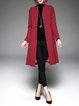 Red Polyester Long Sleeve Plain Simple Pockets Coat